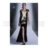 Chinese Style High Collar Embroidery Sheath HI-LO Mermaid Dresses, Mother of the Bride Dress