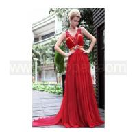 Cheap Crystal brooch red pageant dress with tailing for sale