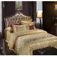 Buy cheap Gold jacquard bedding set duvet cover pillowcases fitted sheet from wholesalers