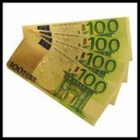Cheap Custom made gold money Gold plated banknotes gift 100 euro 500 euro banknotes for sale