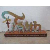 "Religion 11.875""L Faith Wood Sign Wood Letters"