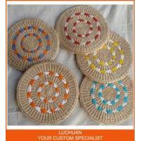 China Wholesale Artifact Round With Color Strip Decoration Straw Meditation Cushion Zafu on sale
