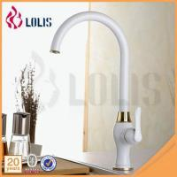 Cheap Fashion new style China sanitary ware supplier single handle white long neck kitchen faucet wholesale