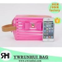 Cheap High Quality beautiful PVC cosmetic bag stripped Transparent traveling bag for sale