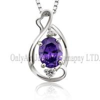 Cheap mirror finished rhodium purple crystal silver 925 jewelry for sale