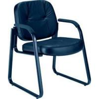 Reception Area Seating OFM Genuine Black Leather Guest/Reception Chair with Arms