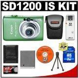 Cheap Canon PowerShot SD1200 IS Digital ELPH Camera (Green) + 8GB SD Card + Case + NB-6L + Accessory Kit for sale