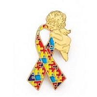 China Autism ribbon with angel lapel pin. $2.56ea on sale