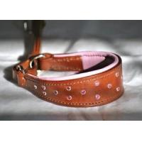 China Tapered martingale collar with pink crystals & lining on sale