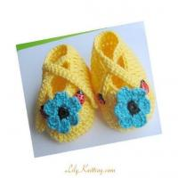 Cheap PATTERNCrocheted double straps baby toddler maryjane booties in the size of 3  6 months for sale