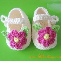 Cheap PATTERN in PDFCrocheted Baby Indoor Shoes booties with flower and leavesBaby Shoes 6 for sale