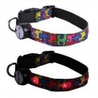 China Autism Awareness Colorful Puzzle Lighted LED Dog Collar on sale