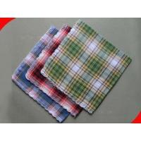 Buy cheap Green Plaid Pure Cotton Mens Personalized Handkerchief from wholesalers