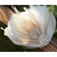 KISSPAT Bridal Fascinator Clip,Wedding Headpieces,Feather Accessory with White Dimaond Jewel