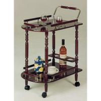 Cheap Tea Carts Cherry Finish Tea Serving Cart With Brass Accents for sale