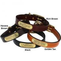 Cheap English Bridle Leather Dog Collar with Personalized Nameplate for sale