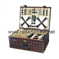 China Willow wicker picnic baskets for 6, rattan picnic baskets, PB1038-RE on sale