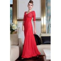 Buy cheap Evening Dress Red Half Sleeve Lace Top Cocktail Dress from wholesalers