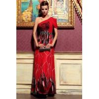 Buy cheap Evening Dress Red Printed Cut Out Draped Sleeve Cocktail Dress from wholesalers