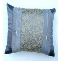 China Thai Silk Pillowcase 16 x 16 Shining Grey with Gold Stripe & Pearls on sale
