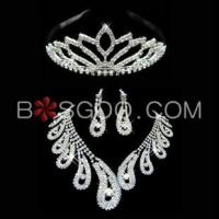 Cheap Weddings & Events 3 Pieces Shiny Clear Austrian Crystal Wedding Bridal Jewelry Sets for sale