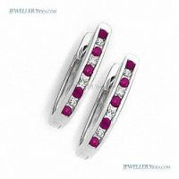 Cheap 9K 9ct White Gold Ruby And Diamond Huggie Earrings prot_HRW for sale