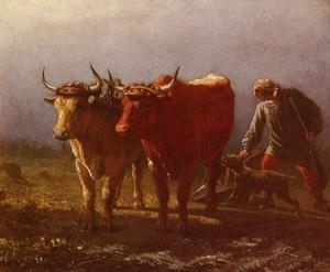 Quality Oil Painting Plowing wholesale