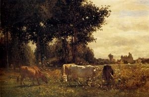 Quality Oil Painting Cows_Grazing wholesale