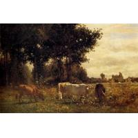 Oil Painting Cows_Grazing for sale