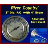 Cheap 3 River Country Dual Range F/C BBQ, Smoker Thermometer (RC-T34FC) (4 Stem) for sale