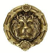 China Ribbon & Reed 5 1/4 Inch Solid Brass Lion Door Knocker (Antique Brass Finish) on sale