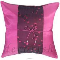 China FUSCHIA Thai Silk Pillow Cases Chinese Style with Floral Stripe on sale