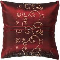 China Dark Red Thai Silk Pillow Covers Embroidered Design on sale