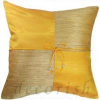 China Thai Silk Pillow Covers - GOLD Checkered Design on sale
