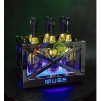 Cheap Metal Frame LED Ice Bucket with Laser Lighting for sale
