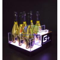 Cheap 6 Bottles Champagne LED Ice Bucket with Gold Mirror for sale