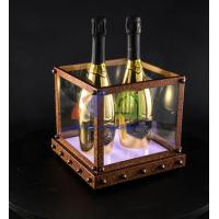Cheap Antique Rusty Effect 4 Bottles Champagne LED Ice Bucket for sale
