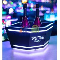 Cheap Hexagon Double Wall 3 Bottles Metal Champagne LED Ice Bucket for sale