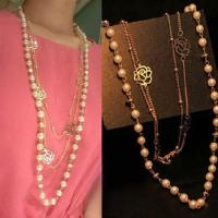 JEWELRY & ACCESSORY Vintage Female Multilayer Rose Sweater Chain Fashion Pearl Necklace Jewelry