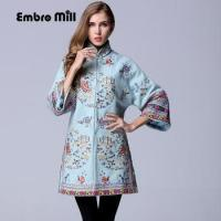 China High-end winter trench coats for women vintage Elegant Floral woolen embroidery loose lady on sale