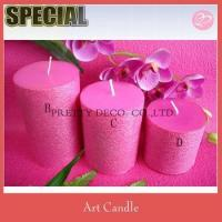 Cheap Pink pillar candle with pink paper stick for sale