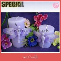 China Purple Nylon dragonfly decorate white pillar candle on sale
