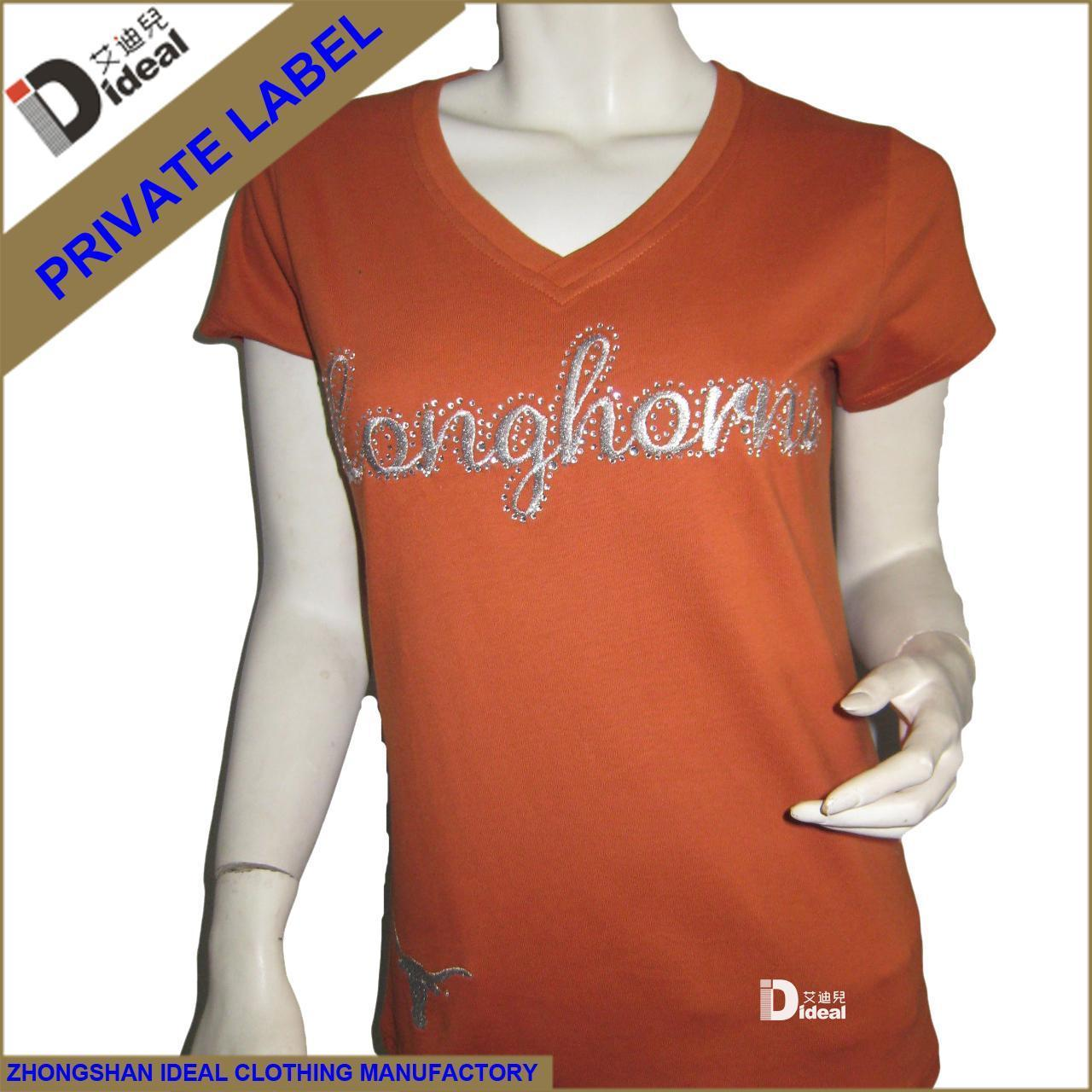 Buy cheap T-shirt Women V-neck Cotton T-shirt from wholesalers
