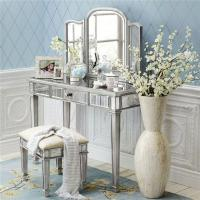 China Vanity Table Mirrored Dressing Table with Folded Makeup Mirror on sale