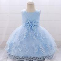 Cheap Wholesale Children's Clothes Summer Design First Birthday Communion Smoked Baby Dress L1869XZ for sale