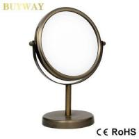 Cheap double side Short Pillar Standing table magnification makeup mirror wholesale for sale