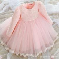 Spring Autumn Pink Party Dress Long Sleeve Lace Flower Puffy Bow Gown Frock Design Girls Dresses