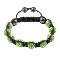Cheap Wax Braided Shamballa Bracelet Pave with Green Rhinestones Beads for sale