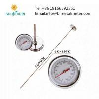 Cheap Double Scale Long Stem Compost Soil Garden Bimetal Thermometer for sale