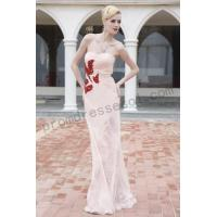 Cheap [on sale]pink strapless with red gemstones Tencel prom dress B0bll for sale